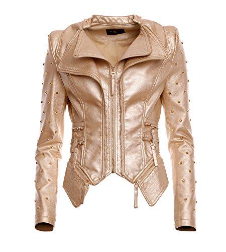 Mayaadi Damen Biker-Jacke stylische kurze Übergangsjacke in Leder-Optik WS-930 Gold L