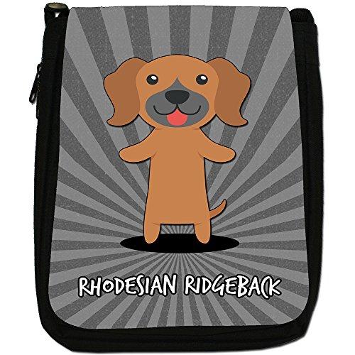World cani dei cartoni animati-Borsa a tracolla in tela, colore: nero, taglia: M Rhodesian Ridgback