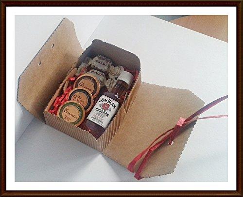 Exklusives Geschenk Jim Beam Kentucky Straight Bourbon Whiskey 5cl Miniatur mit 3 DreiMeister Edel Schokoladen und 2 Whisky Fudge, kostenloser Versand
