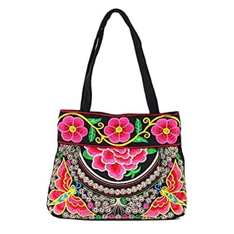 Zhhlaixing Fashion Embroidery Flowers Hand Bags Multi - Color Zipper Special Package pour Women