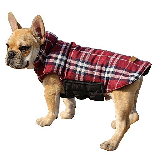 Ausgaben wendbar Hund kaltem Wetter Coats Plaid wasserdicht winddicht Warm Hund Weste Jacke Bekleidung Kostüme (Baby Boston Terrier Kostüm)