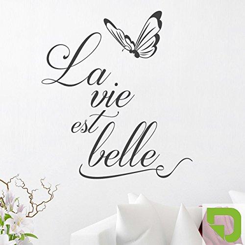 DESIGNSCAPE® Wandtattoo Spruch La vie est belle mit Schmetterling - Das Leben ist schön 54 x 60 cm (Breite x Höhe) lindgrün DW801516-S-F16