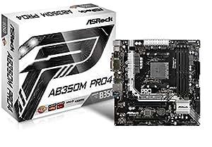 Asrock AB350M Pro4 AMD B350 Socket AM4 Micro ATX motherboard - motherboards (DDR4-SDRAM, DIMM, 2133,2400,2933,3200 MHz, Dual, 64 GB, AMD)