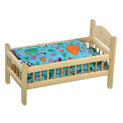 Small Foot by Legler Puppenbett aus Holz, geeignet ab 3 Jahren, naturbelassen mit passender Bettwäsche für die Lieblingspuppe