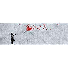 Chicas - Niña Con Globo Rojo De Mariposas, Estilo Banksy, 1 Parte Póster Fotomural (250 x 79cm)