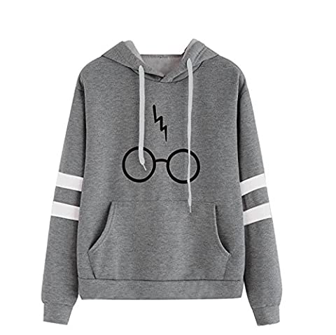 Minetom Women's Autumnn Fashion Long Sleeve Pullover Harry Potter Glasses Prints Hoodies Hooded Sweatshirt Sweater Tops Gray UK