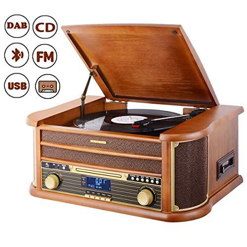 MUSITREND Nostalgie Musikanlage mit Plattenspieler, Retro Stereo Kompaktanlage mit DAB/FM Radio, Bluetooth CD Player USB Kassette Fernbedienung, aus 100% Natürlichem Holz