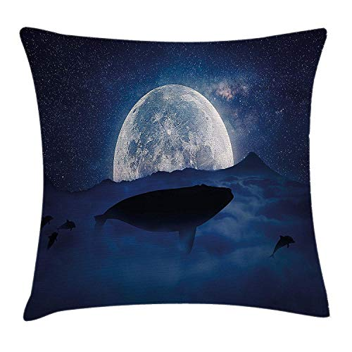 BHWYK Whale Throw Pillow Cushion Cover, Silhouette of A Whale Under Full Moon Starry Sky Night Cosmos Space Mystic Design, Decorative Square Accent Pillow Case, 18 X 18 Inches, Dark Blue Dust -