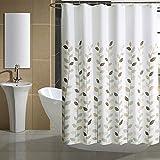 SHU UFANRO Glücklich Blätter Duschvorhang Wasserdicht Verdickte weiße Polyester Stoff Bad Baum Blatt Dekoration Duschvorhänge 180 * 180cm