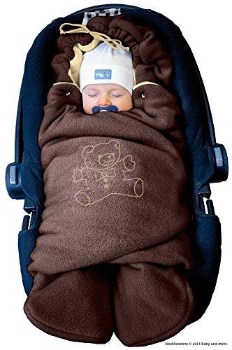 ByBUM - Baby Winter-Einschlagdecke 'Das Original mit dem Bären', Universal für Babyschale, Autositz, z.B. für Maxi-Cosi, Römer, für Kinderwagen, Buggy oder Babybett, Farbe:Braun/Beige