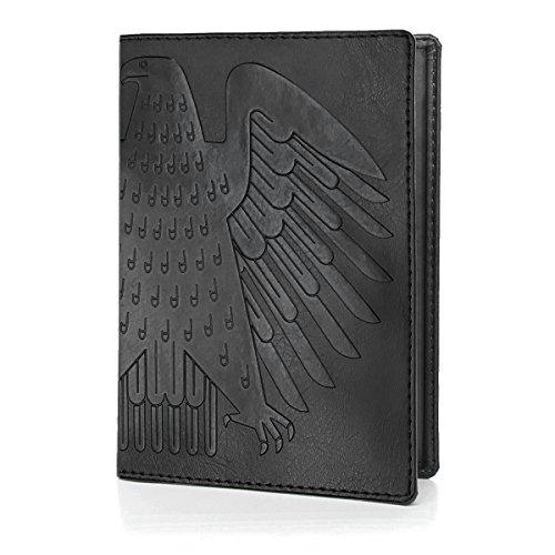 Black Leder Passport Wallet - OPTEXX RFID Reisepasshülle TÜV geprüft &