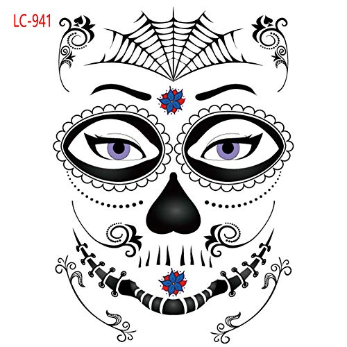 Totenkopf-Gesicht-Tattoo, Halloween-Mode-Gesicht, temporärer Tot-Tattoo, Wassertransfer-Aufkleber – Unisex Free Size Lc-941