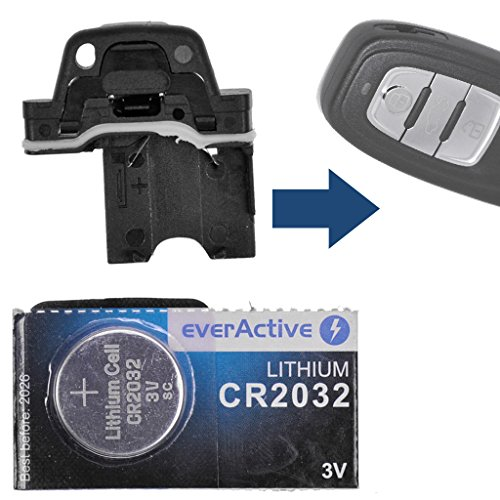 Batteriehalter Batterieclip + 1x CR2032 Batterie für Audi Q3 Q5 A4 S4 A5 S5 R8 TT Smartkey Schlüssel