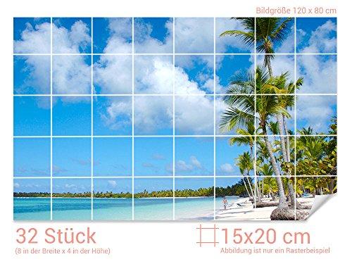 GRAZDesign Badezimmer Fliesenaufkleber Strand - Fliesendekor Palmen - Wandfliesen selbstklebend Paradies - Fliesenaufkleber Urlaub/Fliesenmaß: 15x20cm (BxH) / 761005_15x20_80