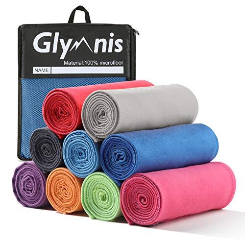 Glymnis Mikrofaser Handtücher Sporthandtuch Reisehandtuch 3 Farben in 3 Größen schnelltrocknend saugfähig weich Badetuch Strandhandtuch für Sport Schwimmen Strand (Blau, 180x80cm)