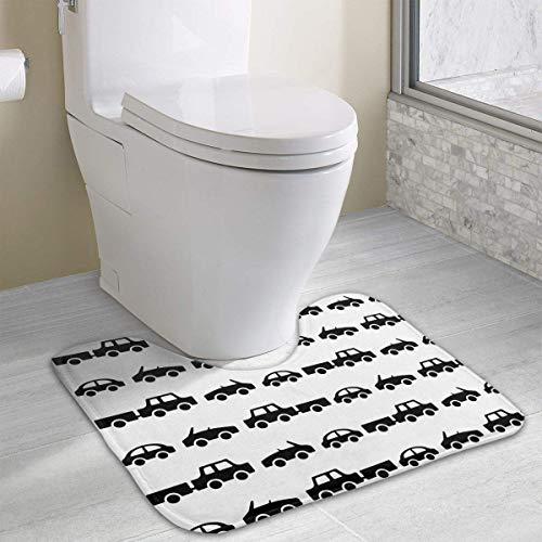 (Hoklcvd Black Car U-Shaped Toilet Floor Rug Non-Slip Toilet Carpets Bath Mats Rug)