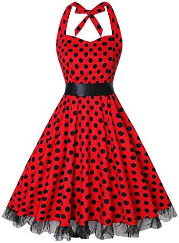 Gute Country Motto Kostüm - oten Damen 1950er Vintage Kleider Schulterfrei
