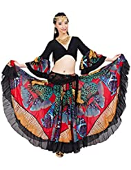 Dance Fairy Tribal gitana 25 yardas de 720 grados roja del vientre de las mujeres gasa de la danza de la tapa +falda larga (rojo)