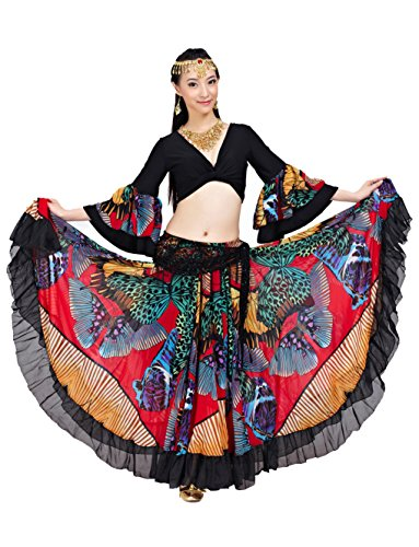 Dance Fairy Tribal Gypsy 25 Yards 720 Grad Red Bauchtanz Chiffon Top + Rock (Red)