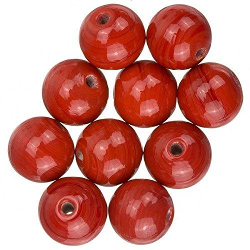 Brillante Rosso Rotondo in Vetro Perle 12mm 10pezzi