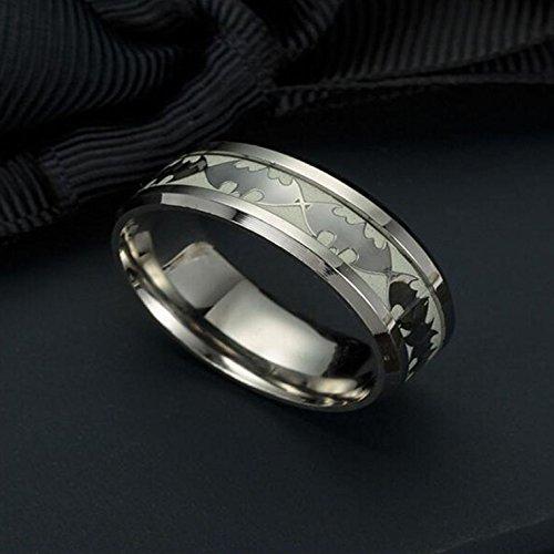 Huplue Batman-Ring für Damen und Herren, leuchtet im Dunklen, Punk-Stil - Leuchtender Band-Ring, Ring aus Edelstahl 10 silber (Für Batman Paare Ringe)