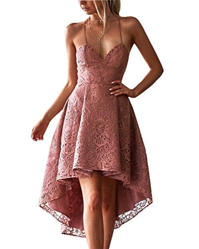 ABYOXI Damen Spitze Kleid V-Ausschnitt Einstellbar Spaghetti Buegel Cocktailkleid Ballkleid...