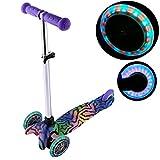 Serface Kinderroller mit 3 LED-Räder, 4-Stufen Höhenverstellbar, Lenkbar durch Gewichtsverlagerung, Kinderscooter Mini Kickboard Roller ab 3 Tretroller Cityroller für Kinder Jungen Mädchen