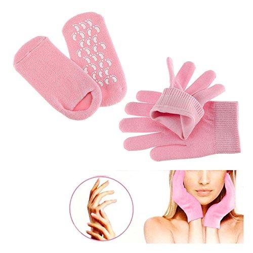 Pinkiou Soften SPA Gel Hidratante guantes y calcetines para hidratar el cuidado de la piel agrietada (Rosa)