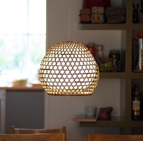 Lampenschirm Roundy Bambus S, 30x30cm - natur, Bambuslampen aus Bali, handgemachte Lampenschirme aus Bambus, als Hängelampe, Pendelleuchte über Esstisch, im Kinderzimmer oder als Wohnzimmerlampe.