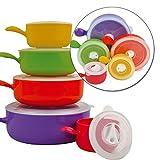 Top Home Solutions-microonde, per 10 Colori Cucina-Set di ciotole con coperchio per pentole e padelle, contenitori