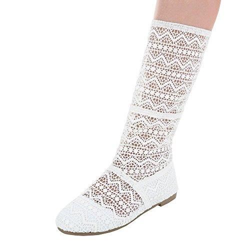 Komfort Pumps Damenschuhe Geschlossen Blockabsatz Luftig Leichte Ital-Design Pumps Weiß