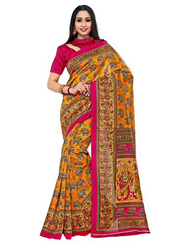 Kupinda Kalamkari Print Art Silk saree Color:Gold (4234-TK-08-GLD-TUS)
