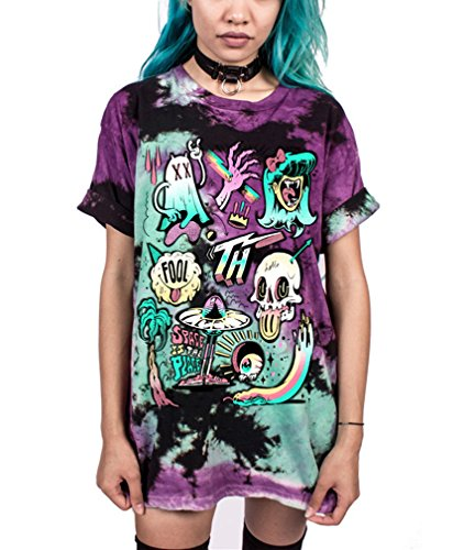 Ocean Plus Unisex 3D Druck Graffiti Alien T-Shirt Loose Fit Wild Verrückt Wahnsinn Tee Shirt Tops (L/XL, 011 Space is The Place)