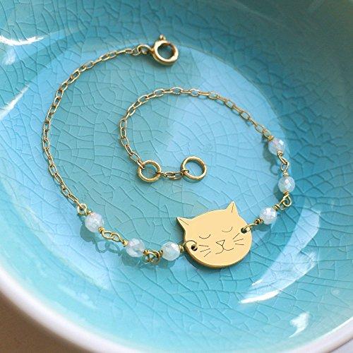 Pulsera de Oro Personalizado con Pequeña Cara de Gato y Piedra Lunar, pulsera de gato, regalo para los amantes del gato