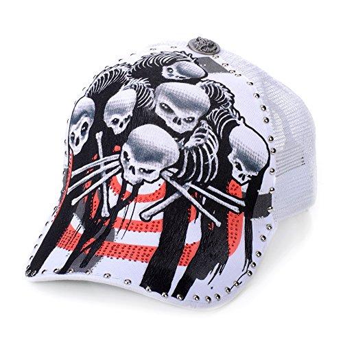 Sense42 | Trucker Cap | Unisex, für Damen und Herren | mit Strass | One Size verstellbar | weiß | edel | exklusiv | Twirling Skulls (Xxl-skull-cap)