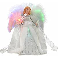 WeRChristmas Fibre Optic Christmas Tree Top Topper Angel with Feather Wings, 25 cm - Silver/White