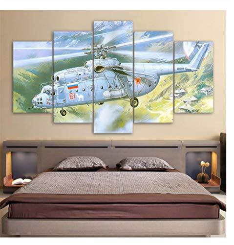 GLORIOUS.YY Bilder Leinwandbilder Fertig Aufgespannt Vlies Leinwand 5 Teilig Wandbilder Kunstdrucke Wandbild Weißer Hubschrauber durch Tal 200X100cm