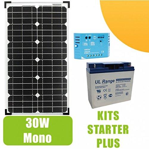 Kit de Panel Solar de 30W y 12V, Monocristalino., gama profesional con regulador de 5A, una batería de 12V y 18Ah.Para pequeñas instalaciones solares necesarias para el funcionamiento de luces, bombas o de cualquier otro dispositivo en sitio ais...