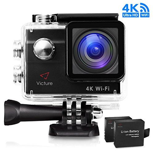 Victure 4K WiFi Caméra Sport 20MP Ultra HD, Caméra d'Action Étanche 30M, Caméscope Plongée Sous-Marine avec Grand Angle 170°, Ecran LCD 2.0'', Kit d'accessoires et 2 Batteries Rechargeables