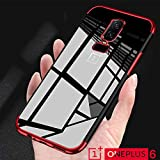 Amozo Royale Series Electroplated All Sides Protection Transparent Back Cover for OnePlus 6 (Red)