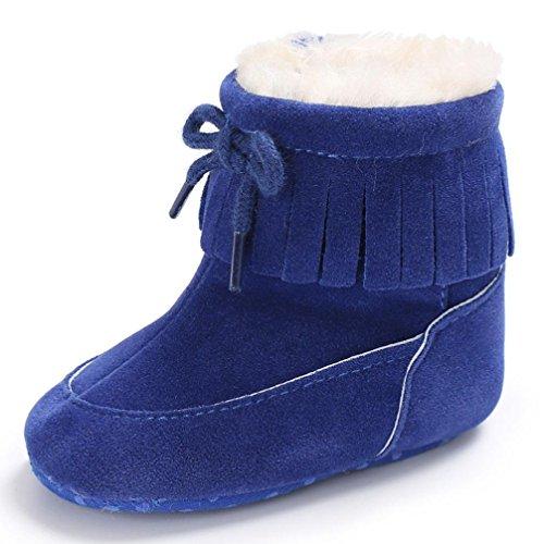 FNKDOR Baby Schuhe Kinder Mädchen Jungen Baumwolle Stiefel Warm Schneestiefel (12-18 Monate, Blau)