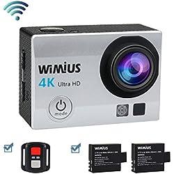 Wimius 4K Action Camera WiFi 1080P 16MP Sport telecamere subacquea 131ft Full HD,fotocamera e videocamera impermeabilecon telecomando 2.4G + 2 batterie + 25 accessori kits
