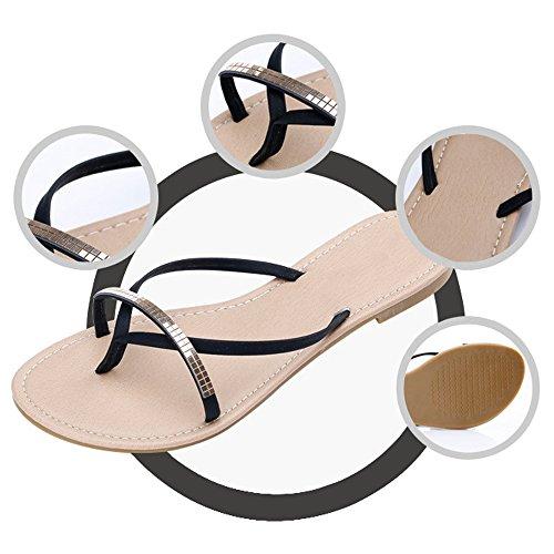 Eastlion Damen und Mädchen einfache Rhinestones flachen Sommer Strand Dunlop Zehenspitzen Sandalen Hausschuhe Strings Flip Flops, 35-40 Blau