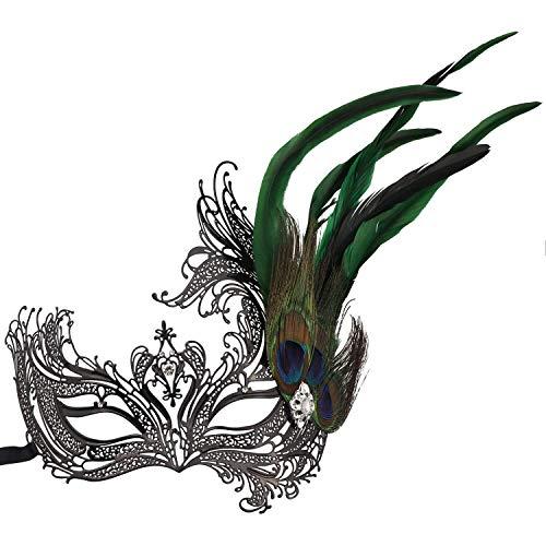Mmhot-mj Damen Federmaske Halloween Karneval Kostüm Accessoires Dekoration Prop (Farbe : Peacock Green 2) (Spiderman Freundin Kostüm)