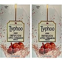 Typhoo Fruit Infusion Apple Cinnamon Twist - 50 envelope bags ( 2 Packs of 25 bags in each)