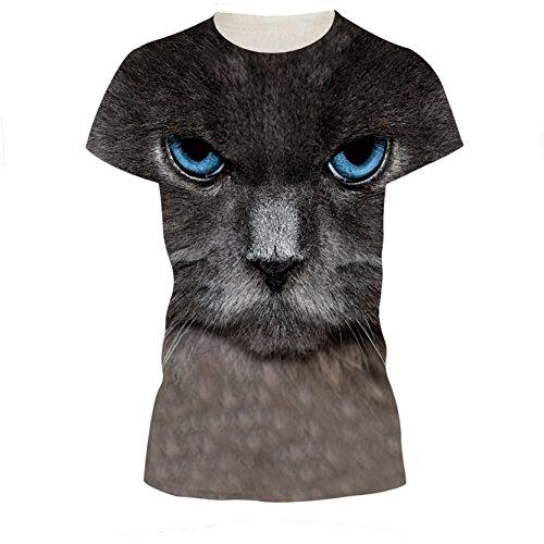 Schreckliche Starrte Katze Kätzchen 3D T-Shirt Damen Gothic T-Shirt XL (Jersey Abs-print)