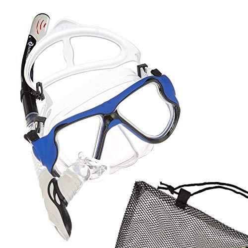 \'vergleichs Sieger: Juego de buceo profesional Snorkel Star:: Gafas Azul/Blanco + seco Snorkel + Funda:: adultos (Hombre & Mujer) y niños a partir de 10años:: sin aletas:: 3años de garantía