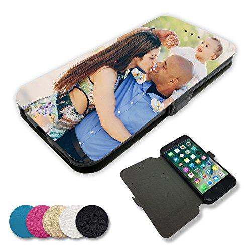 Hochwertiges UV Direktdruck Foto-Flipcase Etui für Apple iPhone-Serie mit eigenem Foto und Text * Flip Tasche Handy Book Schutzhülle, Farbe:Schwarz, Handymodell:Apple iPhone 7 Plus (Volle Front-logo-design)