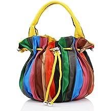 Señoras piel sintética multicolor Mini Grab Bag mujeres hombro bolso Satchel Bolso Nuevo