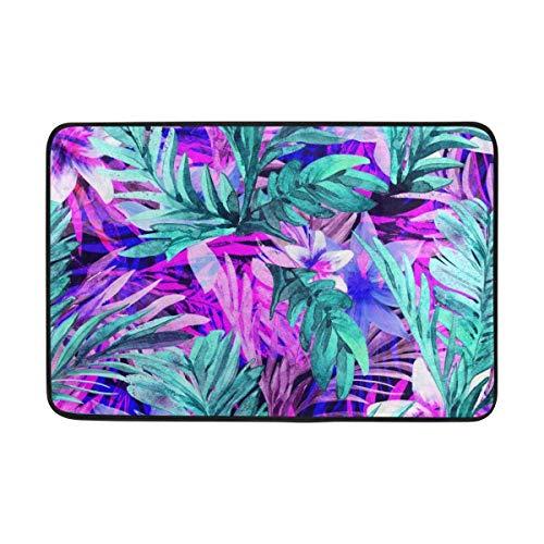 pet Neon Floral Tropical Leaves Print Area Rug Lightweight Doormat 23.6x15.7 inch, Memory Sponge Indoor Outdoor Decor Living Room Bedroom Office Kitchen ()